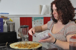 Maria Daniel making a crepe.