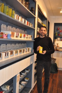 Wes Fletcher and his newly opened candle store.
